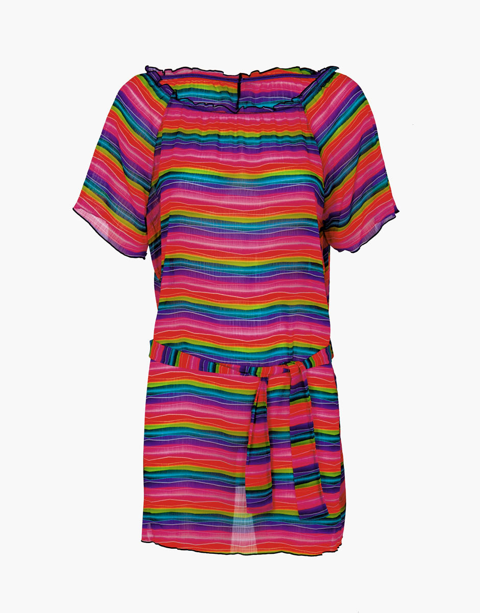 Caftano stampa arcobaleno in chiffon - Arcobaleno a colori e stampa ...