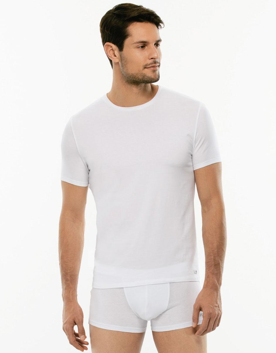 T-shirt girocollo Premium Cotton bianca, in cotone elasticizzato di alta qualità-LOVABLE