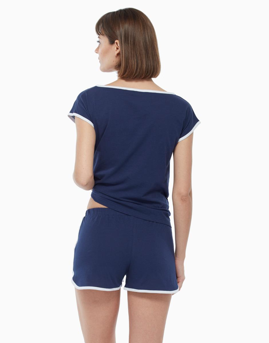 Pigiama in jersey di cotone, blu, , LOVABLE