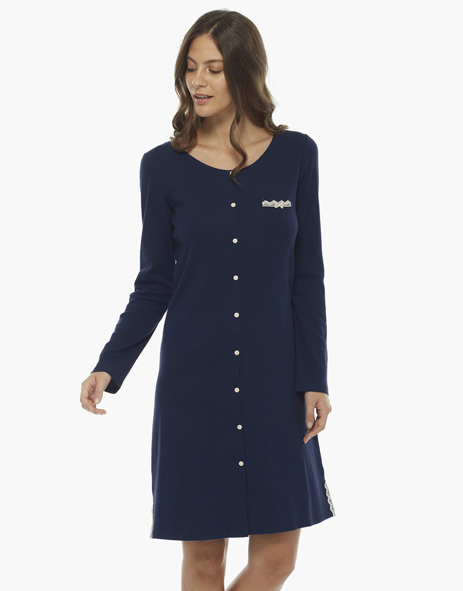 Camicia da notte manica lunga, blu, in cotone con inserti in pizzo, , LOVABLE