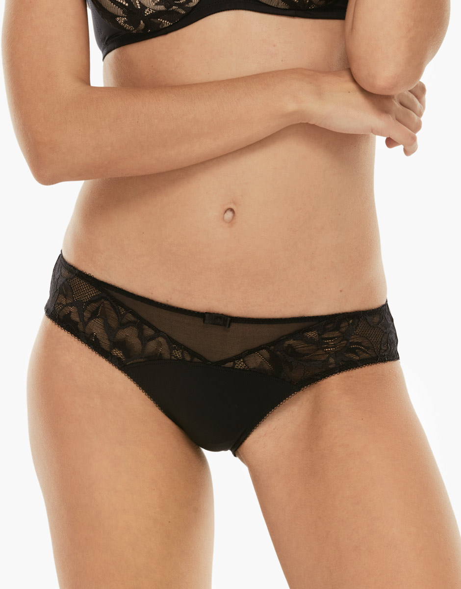 Slip Tonic Lift Feminine nero in microfibra e pizzo-LOVABLE