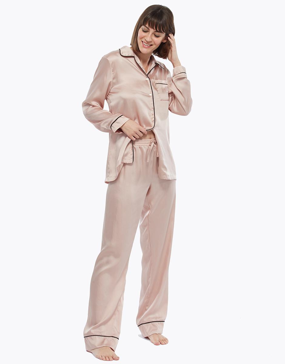 Pantalone lungo, rosa e oro, in satin, , LOVABLE