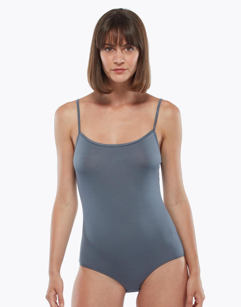 Body spallina stretta grigio, in viscosa, , LOVABLE