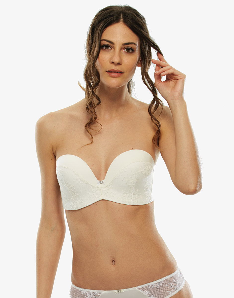 Reggiseno perfect strapless avorio, in microfibra e pizzo-LOVABLE