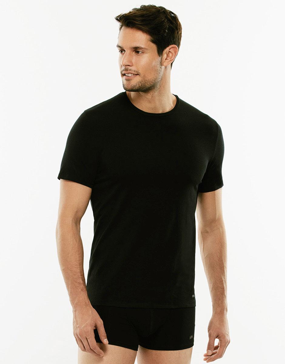 T-shirt girocollo Premium Cotton nero in cotone elasticizzato di alta qualità-LOVABLE