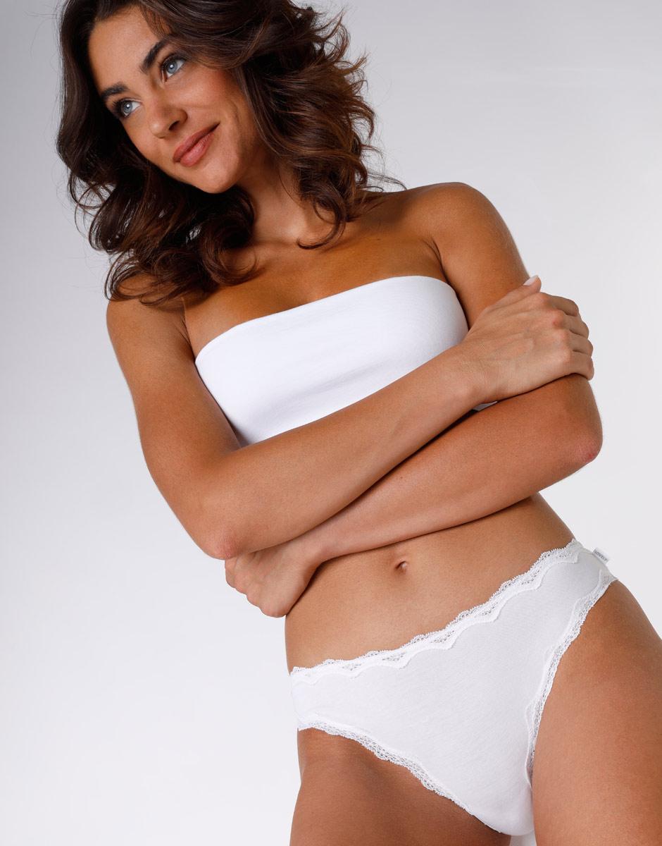 Slip mini Lovely bianco in cotone elasticizzato con pizzo-LOVABLE