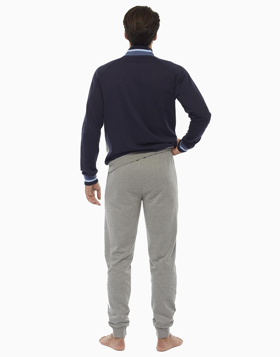 Homewear manica e gamba lunga grigio melange scuro, in felpa spazzolata, aperta , , LOVABLE