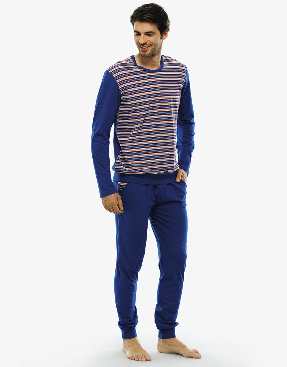 194d2ed33110 Pigiama manica e gamba lunga righe rosse, bianche e blu in jersey-LOVABLE  ...