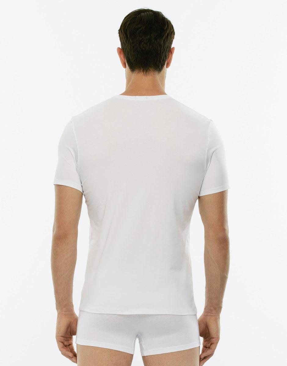 T-Shirt Cotton Stretch bianco in cotone elasticizzato con scollo a V profondo-LOVABLE