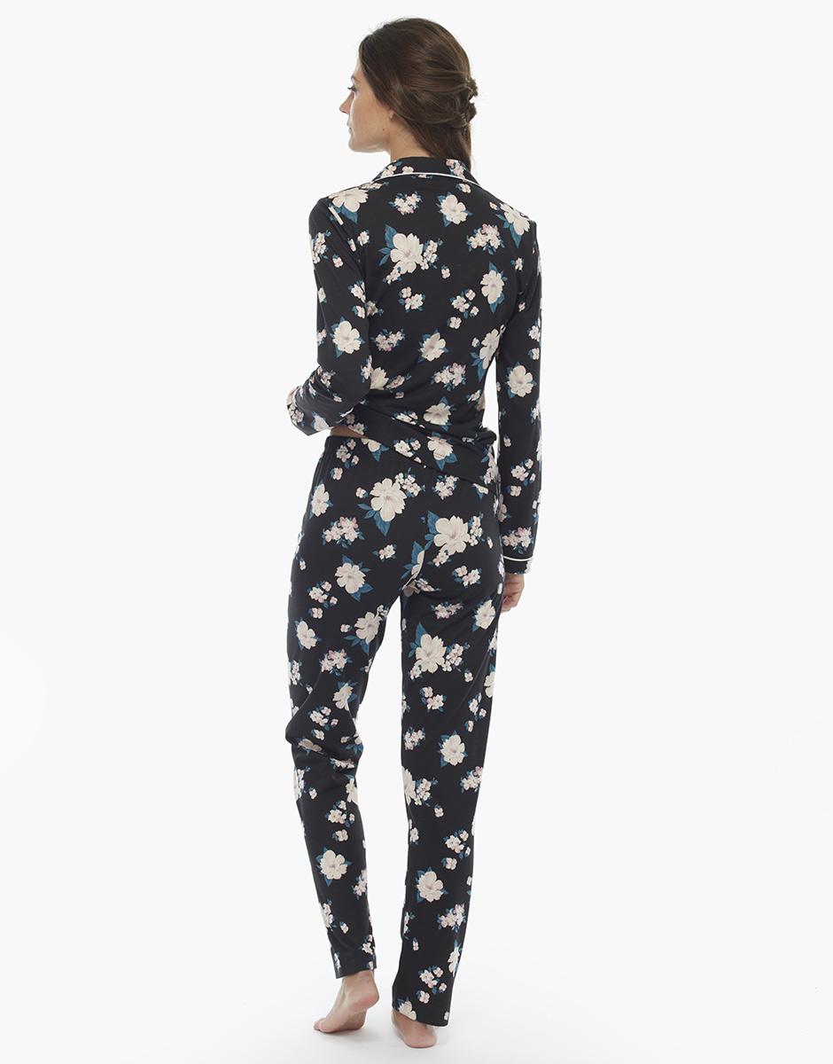 Pigiama manica e gamba lunga, stampa fiori, in cotone jersey e modal, , LOVABLE
