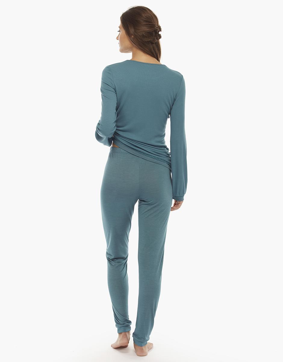 Pigiama manica e gamba lunga, verde, in viscosa elasticizzata e jersey modal, , LOVABLE