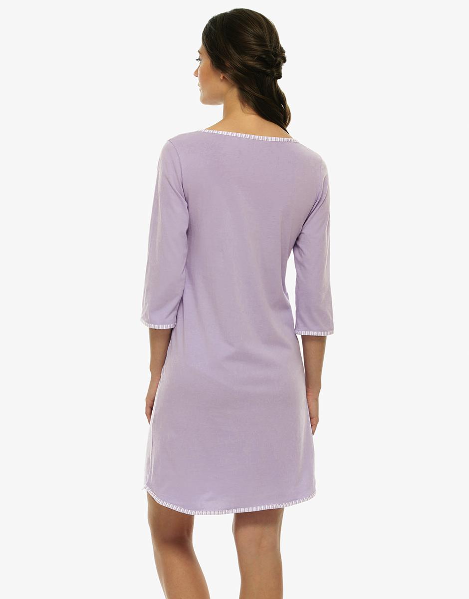 Camicia da notte aperta maniche a 3/4, lilla, in jersey cotone-LOVABLE