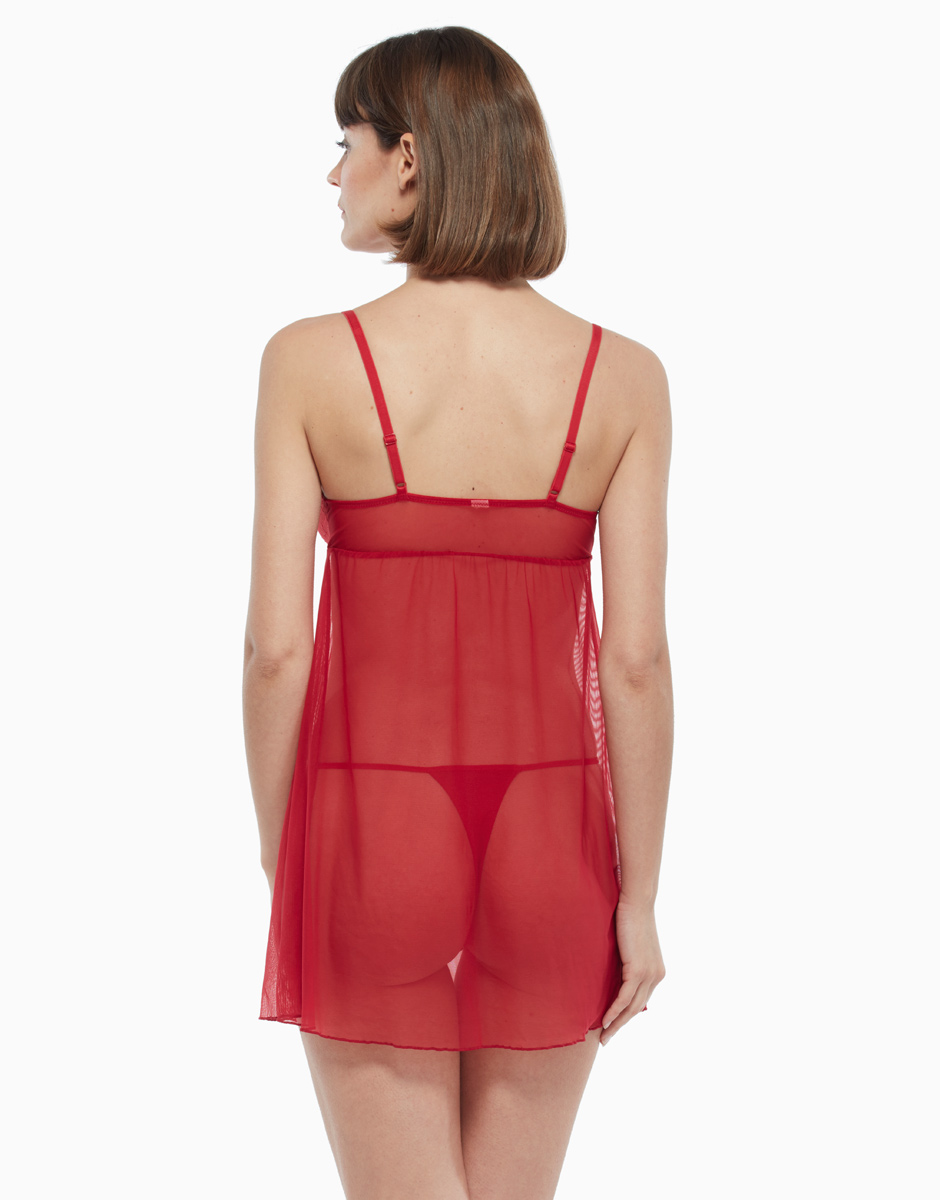 Babydoll in pizzo e tulle, rosso, , LOVABLE