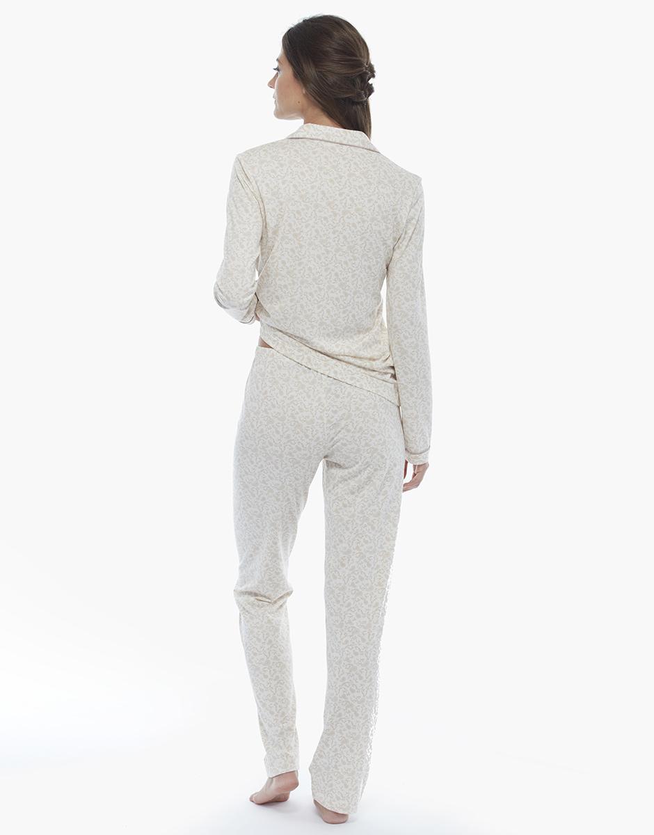 Pigiama manica e gamba lunga, stampa foliage, in cotone jersey e modal con profili e bottoni ricoperti in raso, , LOVABLE