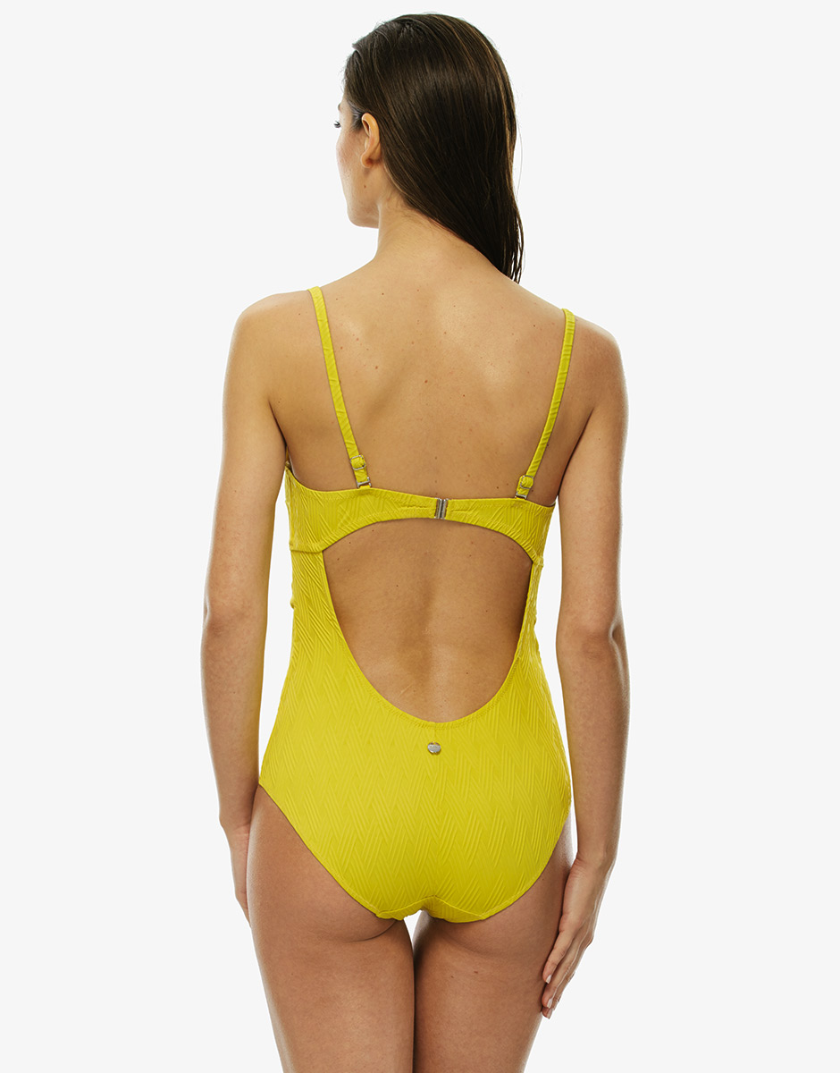 Intero giallo in goffrato con laccetto per allacciatura al collo removibile, , LOVABLE
