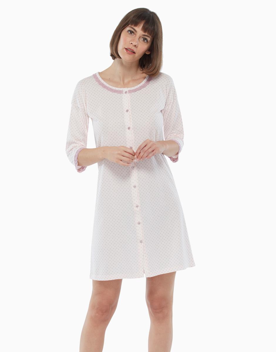 Donna Floreale 100/% cotone jersey manica corta Camicia da notte Camicia da Notte Nightwear