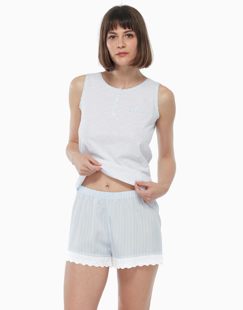 Pigiama in cotone intrecciato e tela, bianco a righe, , LOVABLE
