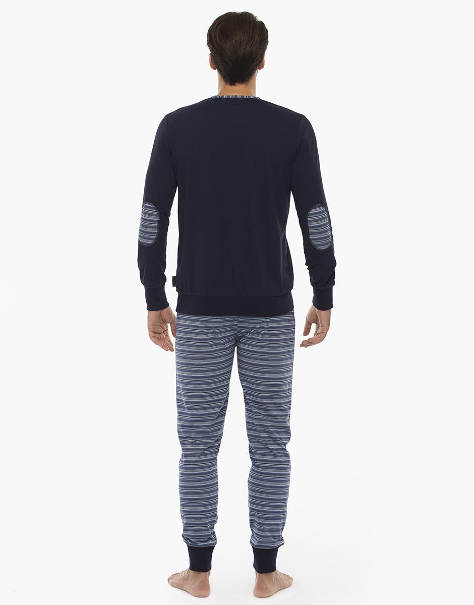 Pigiama manica e gamba lunga, blu notte, in jersey 100% cotone  , , LOVABLE