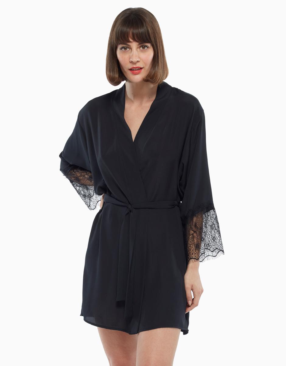 Kimono con balza di pizzo, nero, , LOVABLE
