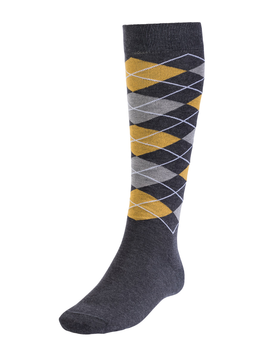 Calza lunga liscia Burlington Style, grigia e gialla, , LOVABLE