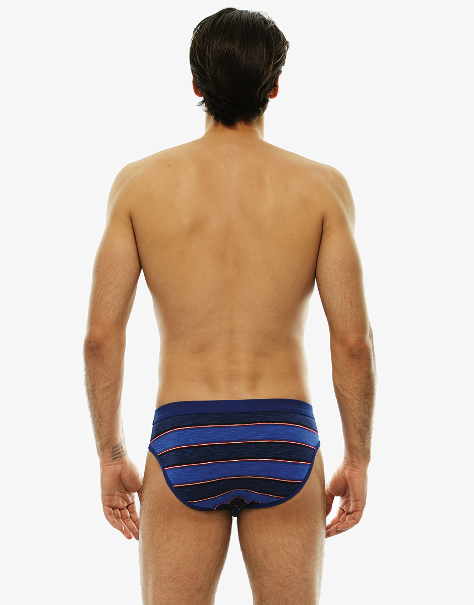 Slip blu royal rigato in cotone fiammato-LOVABLE
