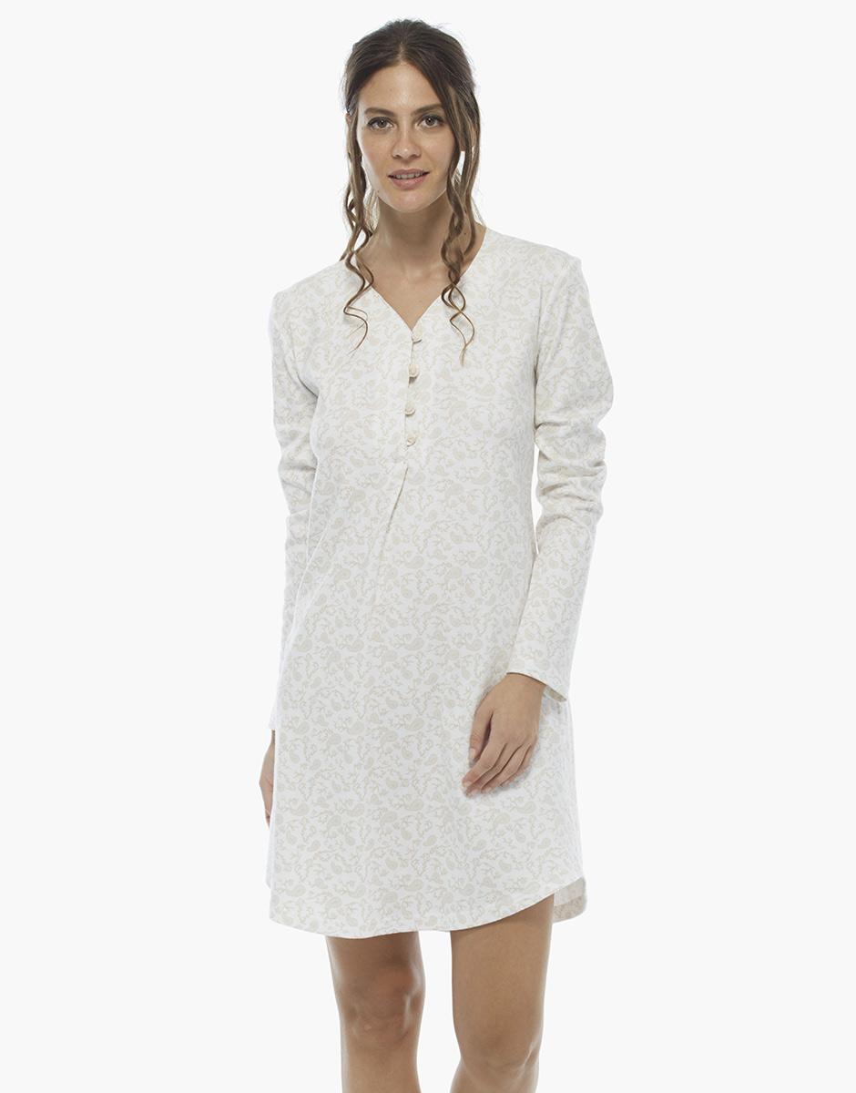 Camicia da notte manica lunga stampa foliage, in interlock 100% cotone , , LOVABLE