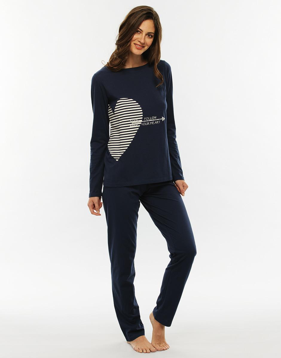 Pigiama manica e gamba lunga, blu stampato, in jersey di cotone-LOVABLE