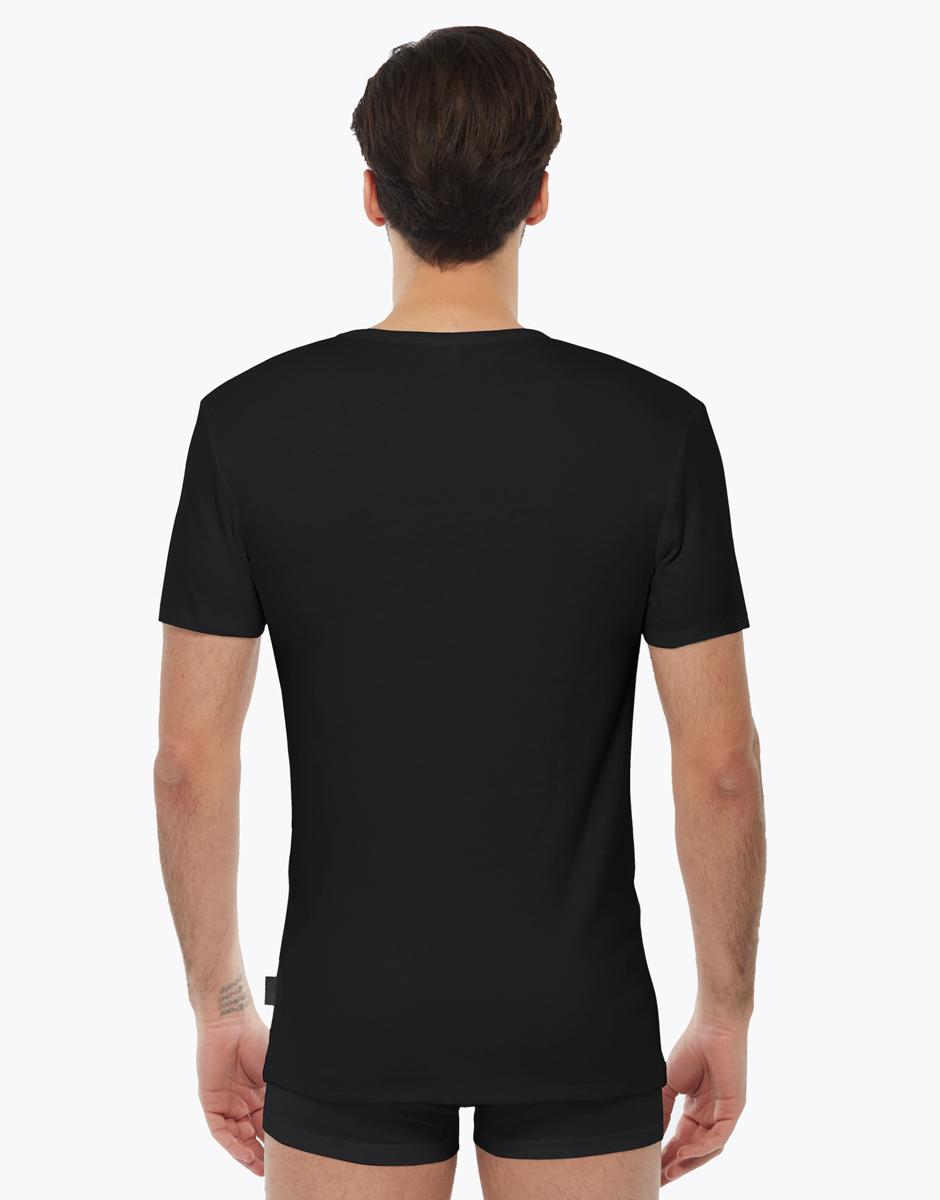 T-shirt manica corta nero in interlock di cotone con scollo a V, , LOVABLE