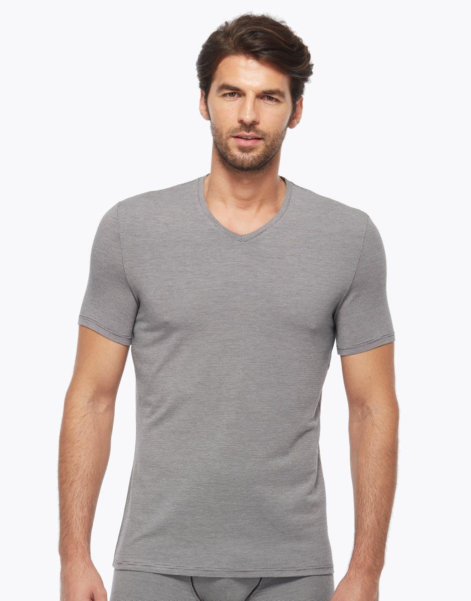 T-shirt in micromodal, micro-rombi bordeaux, , LOVABLE