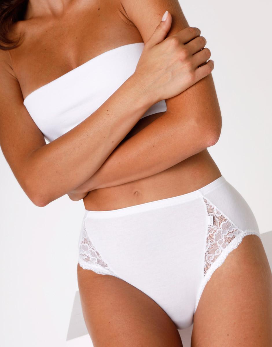Slip midi Lovely Charme bianco in cotone elasticizzato con pizzo-LOVABLE