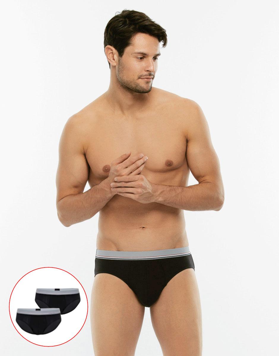 Bipack Slip Cotton 3D Flex nero in tessuto 3D Flex extra stretch-LOVABLE