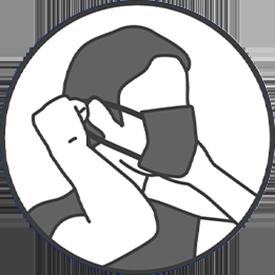 Placez les élastiques de part et d'autres des oreilles