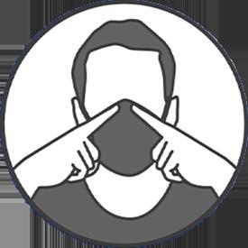 Une fois ajusté, ne touchez plus votre masque